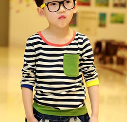 Wholesale Boys Kids Clothes Long Sleeve T Shirt Children T Shirts Kids Wear Boys Shirt Round Neck Shirts Fashion Stripe Casual T Shirt Child Clothing