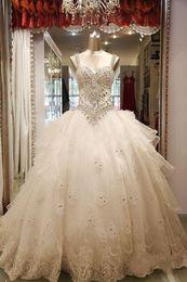 Wholesale luxury wedding dress crystals wedding dress bling dress Tulle Beaded Ball Gown Wedding dresses P126