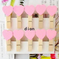 Wholesale Freeshipping New Cute pink color Heart Wooden Clip Mini Bag Clip Paper Clip Fashion Special Gift