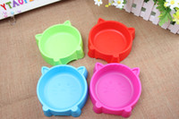 Wholesale Cheap Colourful Plastic Cat Face Cat Face Dish Cat Bowls Dog Feeders Cat Supplies PE26