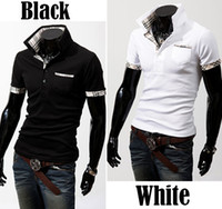 Wholesale 2013 New Casual Men s Stylish Coat Slim Short Sleeve Jacket Fit Checked T Shirts Tee Color