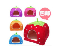 Wholesale 2013 New Arrival Top Quality Strawberry Sponge Pet House Bed Cat Dog Kennel Warm Cushion Basket Drop Shipping Factory Price