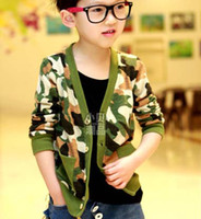 4T-5T Boy Spring / Autumn Child Shirt Boys Clothes Children Clothing V-Neck Cardigan Fashion Camouflage Shirts Kids Wear Boys Casual Coat Baby Long Sleeve T Shirts