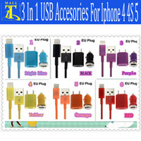 For Apple iPhone Direct Chargers  Newest 3 in 1 Mobile phone 8 Pin USB Cable EU Plug Car Charger Travel Kit for iPhone 4 4S 5 5G iPad mini Wall Adapter Home Charger 1pcs