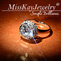 Fashion Rings Wedding Bands Exclusive! Rhodium Plated Brass Fine Sparkling Over Size CZ Diamond Engagement Solitaire Ring with Accents for women