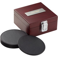 Wholesale Quality mahogany box coasters six pieces set gift box set leed lsquo s leather coasters