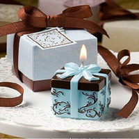Wholesale 200pcs Factory Wholesales wedding gift Pink and Brown Gift Box Candle Wedding Favors sets
