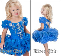 Wholesale Custom Made New Cute Little Girl s Pageant DressesBall Gown Crystals Cupcake Mini Short Ruffles Beading Organza Glitz Flower Girl Dress