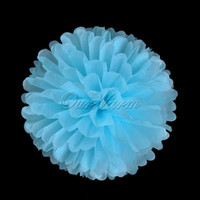 Wholesale Aqua Blue Tissue Paper Pom Poms Flower Balls Wedding Party Home Decor Favor Paper Crafts quot cm