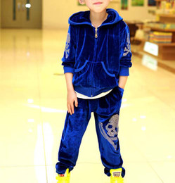 Wholesale Child Suit Kids Sets Long Trousers Children Activewear Velour Hoodie Sweatshirts Fashion Skull Sportswear Activewear Pants Kids Suit Outfits