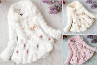 Wholesale Girls Ultra soft plush hairy coat with pearl Autumn Winter Clothes Children Sweet flower outerwear Warm clothes cv