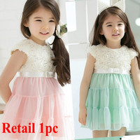 Wholesale Retail New Korean girl s tutu dress rose flower lace dress princess dress children summer fashion clothes baby party dress