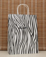 Paper Hand Length Handle Kraft Paper Big size DIY Multifunction zebra paper bag 33X25X12CM Kraft gift bag with handle Wholesale