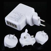 Wholesale 4 Port USB power charger AC Adapter US EU UK AU Plug Wall Charger for iPhone S for iPad mp3 mp4