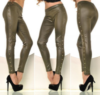 Cheap Fashion Lateral Nailing Imitation Leather Leggings Nailing Three Color Leather Pants Ms Sexy Leather Leggings 1115