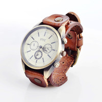 Wholesale ladies vintage punk genuine leather bracelet wrist watch with wide band big dail hour unisex top quality C1205