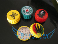 Wholesale dia cm Bottle Cap Shape layer Metal herb grinder Tobacco Grinder GiftPromotion GR016