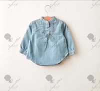 Wholesale children s clothing girls jeans denim shirt Stand Color