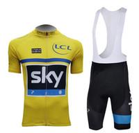 Short Anti UV Men Tour De France 2013 SKY TEAM YELLOW FRANCE Short Sleeve Cycling Jersey Bike Bicycle Wear + BIB Short Size XS-4XL