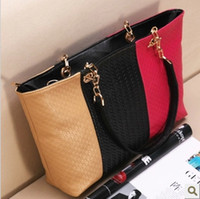 Wholesale Summer new candy colored three color stitching handbags Shoulder Messenger bag fashion PU leather handbag