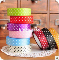 Wholesale Freeshipping NEW colorful dot ribbon tape High quality fabric Adhesive Tape Multifunction