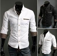 Wholesale 2889 HOT New Fashion Personalized Leopard Decoration Leisure Slim Men s Long Sleeve Shirts Casual Slim Shirt