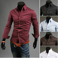 Wholesale 2888 HOT New Fashion Solid buckle collar Slim Men s Long Sleeve Shirts Casual Slim Shirt