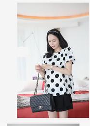 Wholesale Maternity shirts Maternity polka dot jersey shirt women chiffon shirt colours M L