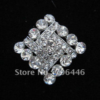 Wholesale Silver Plated Alloy and Rhinestone Crystal Rhomb Shape Small Brooch