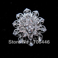Wholesale Top Quality Silver Plated Clear Rhinestone Crystal Diamante Flower Brooch Pin Jewelry
