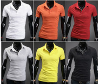 Men Cotton Polo 2900# 2013 HOT New men's t-Shirts MensSlim solid color cotton beads 6 short Sleeve T-shirts