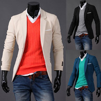 Wholesale 2013 new fashion men s Suits Korean version Slim Small suit Jade MiG fabrics Two Button Casual men s suits men s Outwear Khaki