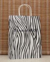 Paper Hand Length Handle Kraft Paper Big size DIY Multifunction zebra paper bag 33X25X12CM Kraft gift bag with handle Wholesale