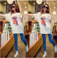 Wholesale Korean Fashion Maternity clothes Pregnant women T shirt owl pregnant women loose cotton short sleeve blouse