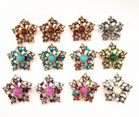 Wholesale Bronze amp Antique Silver Tone Muticolor Crystal and Gemstone Center Vintage Flower Brooch