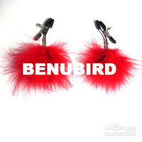 Wholesale Adult Product Lady s Nipple Labium Clips With feather Bondage pairs