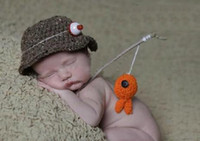 Wholesale New Arrival Baby crochet hat newborn hat boys handmade fisherman caps with fish kids bucket hat newborn baby photography prop