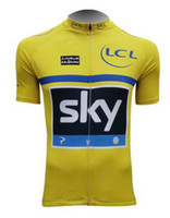 Short Anti UV Men Tour De France 2013 SKY TEAM Yellow PINARELLO ONLY Short Sleeve Cycling Jersey Bicycle Wear Size XS-4XL
