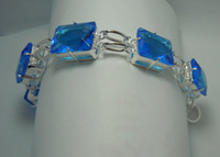 Wholesale Avoid freight silver jewelry processing customized an impressive pure natural blue topaz silver bracelet