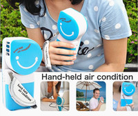 Plastic hand fan battery - Mini Hand held Air Conditioner Cooling Fan USB Battery Powered Retail Package APPA0826