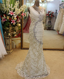 Wholesale Custom made Elegant Mermaid Sheath Wedding Dress Sexy V Neck Chiffon Lace Ruffle Crystal Beads Handmade Rhinestone Party Pageant Dress