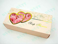 Wholesale 10Box Bath Soap Flowers Wedding Favor flower Rose Soaps Gold Foil Gift Boxes