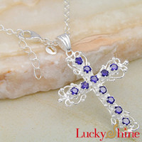 Asian & East Indian amethyst cross pendant - New Design Cross Pendants For Jewelry Making Pueple Amethyst Pendant P0431