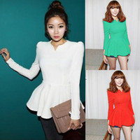 Wholesale Red Green White Black Fashion korea Puff Long sleeves Fitted Peplum Blouse Woman T shirt Cotton Blends Tops Casual shirts