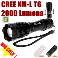 Wholesale UltraFire E007 CREE XM L T6 Lumens Mode LED Zoomable Flashlight torches T6 Lamp Light For AAA