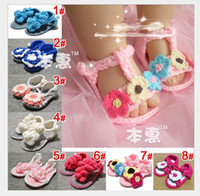 Wholesale HOT new flower girl Cartoon baby handmade sandals First Walker Shoes colors pair edison168