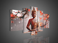 More Panel Oil Painting Fashion Framed 5 Panel 100% Handmade Huge Buddha Panel Oil Painting 5 Piece Canvas Art Cherry Blossom Feng Shui Wall Picture XD01303