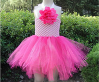 TuTu Summer Ball Gown Baby Girl Flower Crochet Halter Pettil TUTU Dress wedding party princess costumes dresses