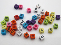 Wholesale 250 Assorted Colorful Alphabet Letter Acrylic Cube Pony Beads X6mm