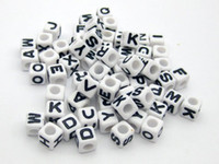 Wholesale 250 Assorted Black in white Alphabet Letter Acrylic Cube Pony Beads X6mm